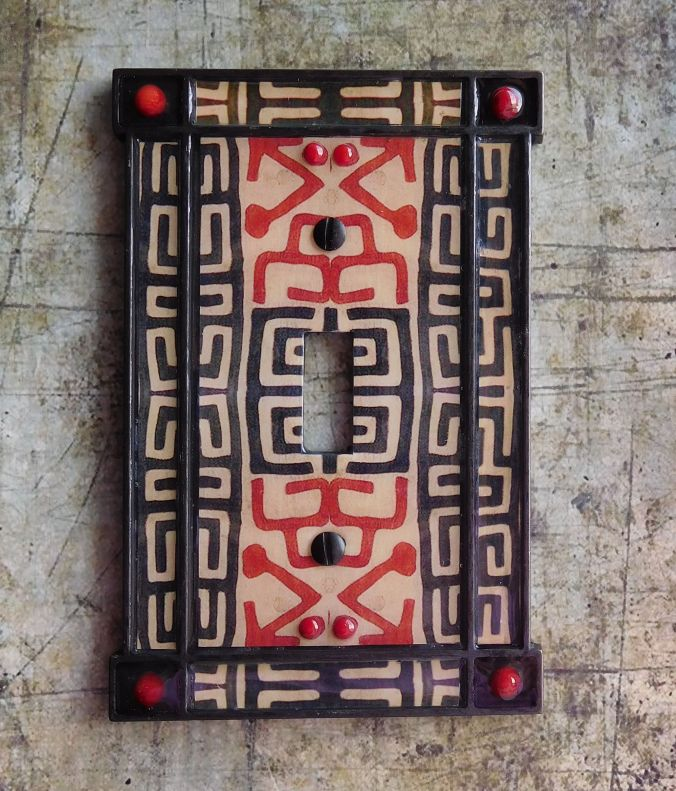 African Echoes Kuba Pattern Switchplate