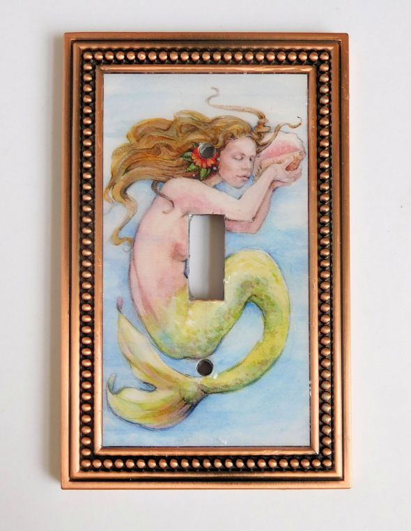Mermaid with Conch Shell in Copper